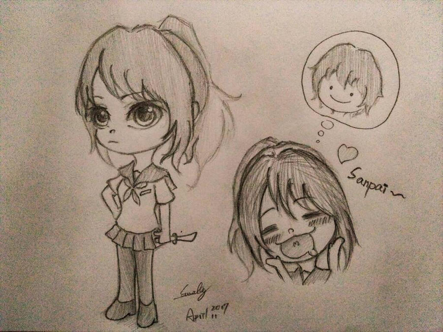 yandere chan chibi style sketch concept by summilly