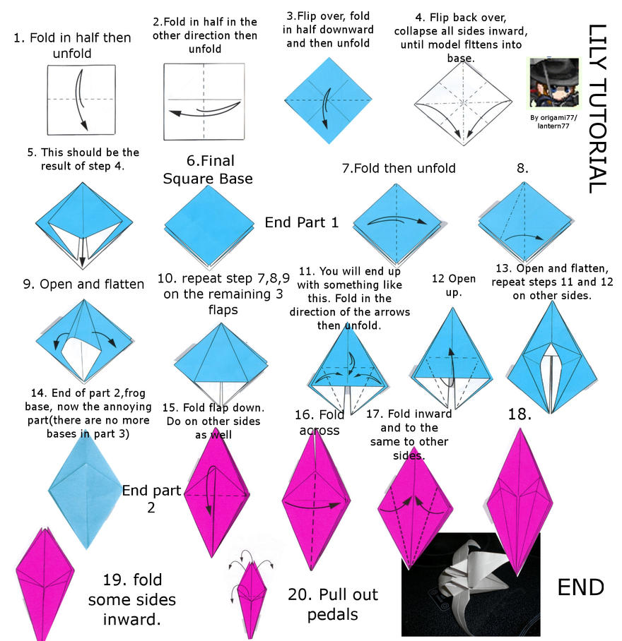 lily or iris origami tutorial by lantern77 on deviantart