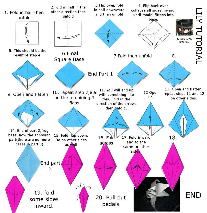 Lily or Iris origami tutorial by lantern77 on DeviantArt - photo#10