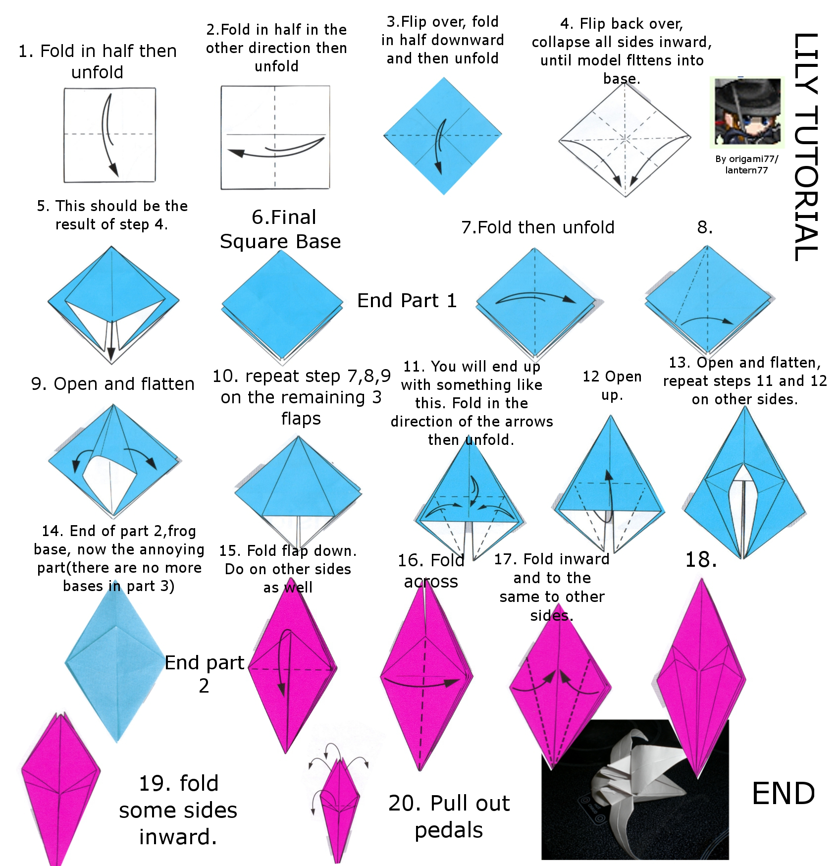 Lily or Iris origami tutorial by lantern77 on DeviantArt - photo#29