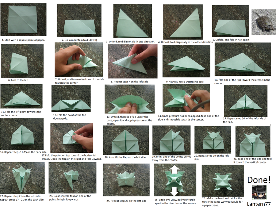 Origami Turtle Instructions By Lantern77 On Deviantart