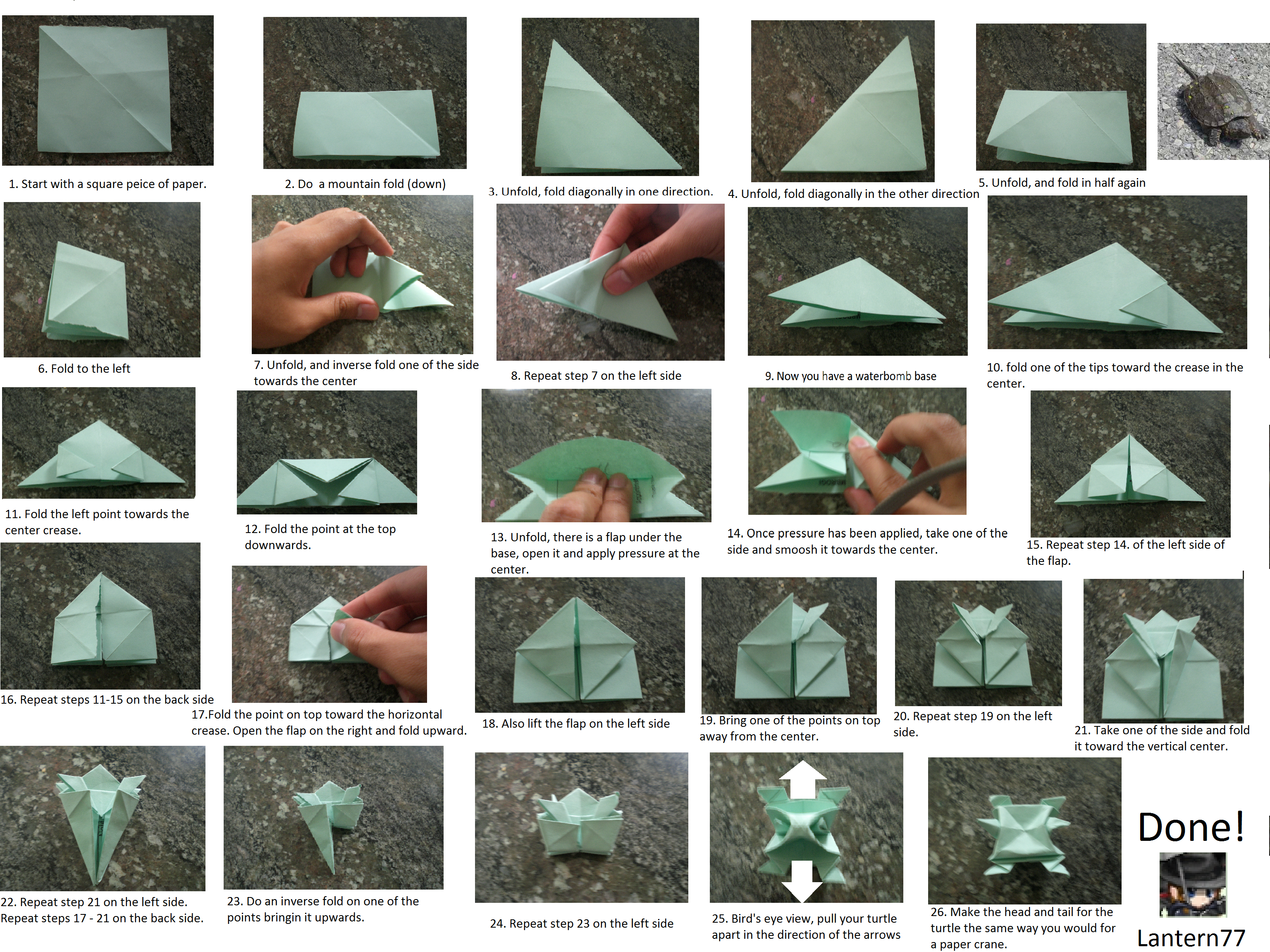 Traditional Lily Origami Diagram