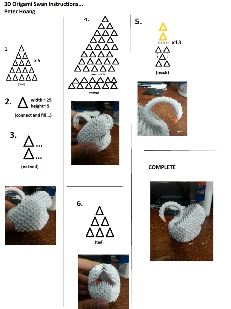 Instructions For 3d Origami Swan By Lantern77 On Deviantart 3dorigamiswandiagram Peacock Diagram