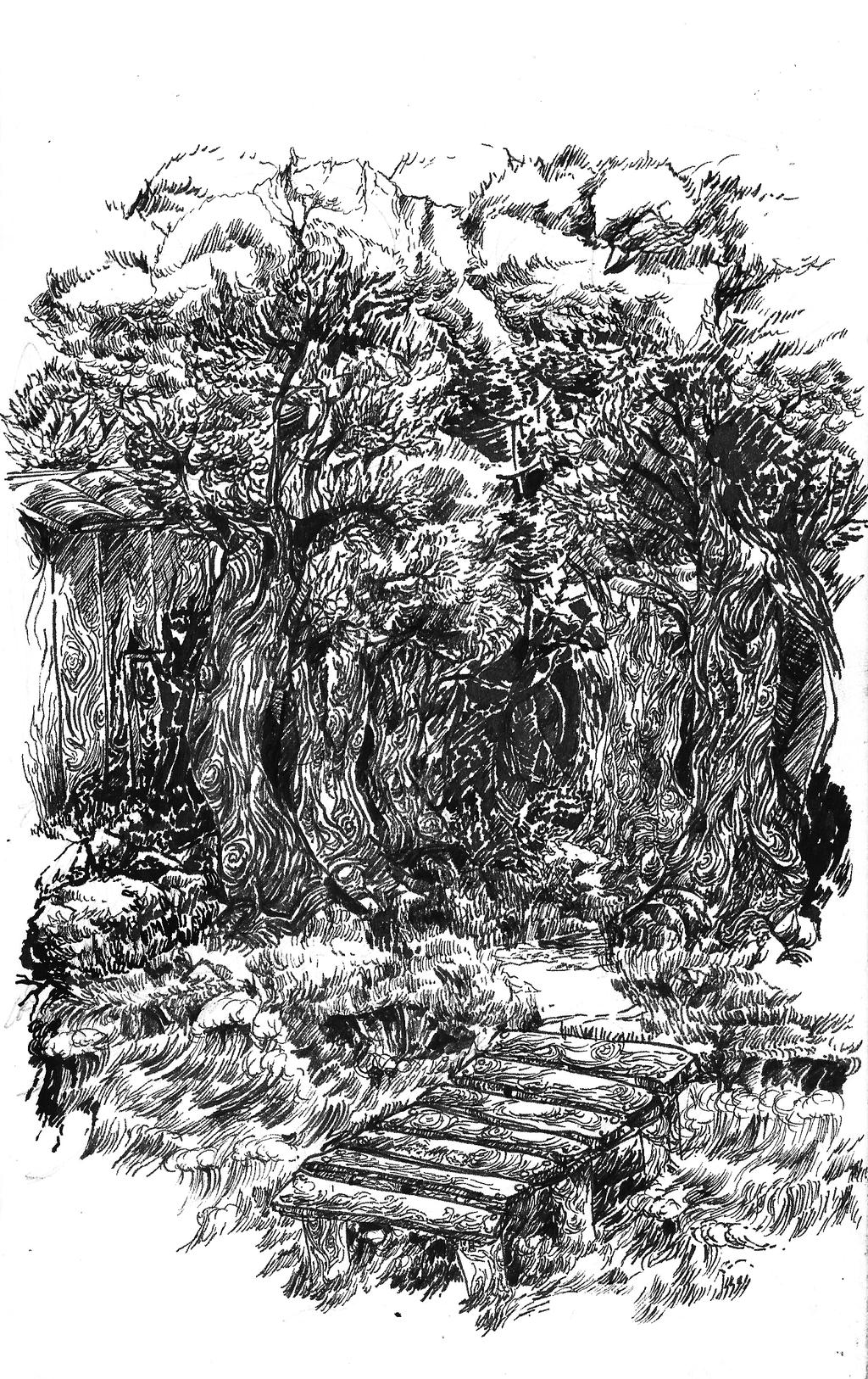 Drab forest scene by timberking on deviantart for Forest scene drawing