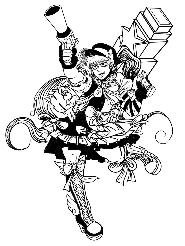 Line Art Harley Quinn : Harajuku harley quinn lineart by timberking on deviantart