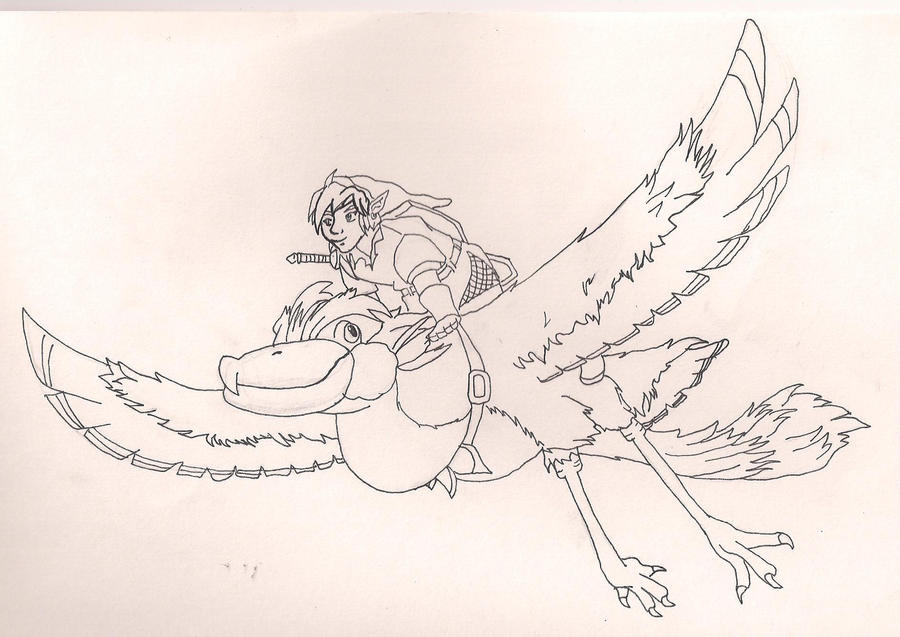 skyward sword link and crimson loftwing by lunakuchiki - Link Coloring Pages