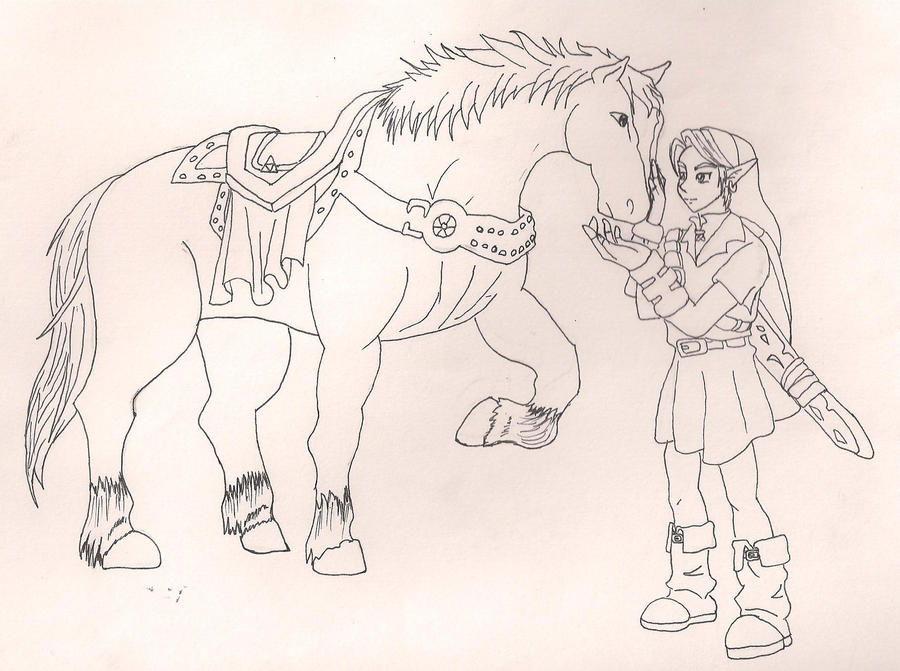 Ocarina Of Time Link And Epona By Lunakuchiki On Deviantart Coloring Page Of Legend Of Ocarina Of Time