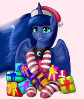 Luna with holiday gifts by DukevonKessel