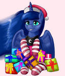 Luna with holiday gifts