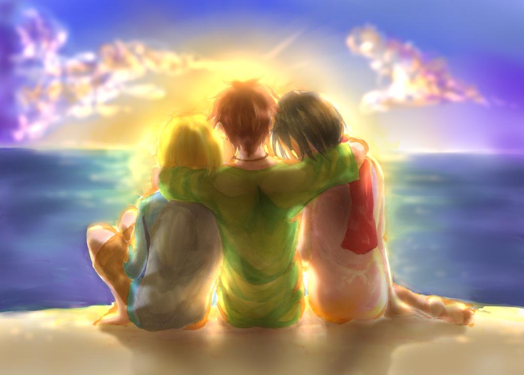 Together outside by KuroHaine