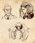 Fantasy characters - linearts
