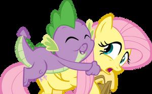Spike Hugs Fluttershy by FrankRT