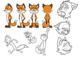 Murray the Fox (Model Sheet) by captainslam