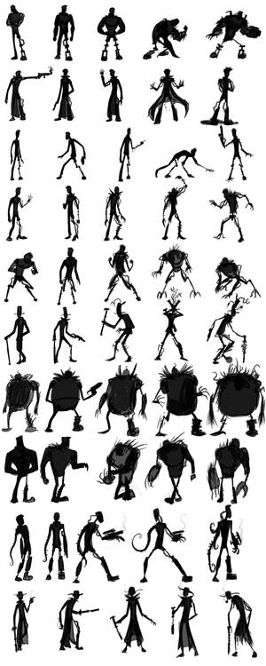 Cyborg Character Design Silhouettes