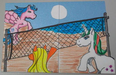 Ponies play volley ball by Hindsightis2020