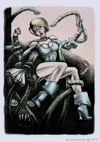 Superheroine vs. Tenta-Demon by thefooltouchstone
