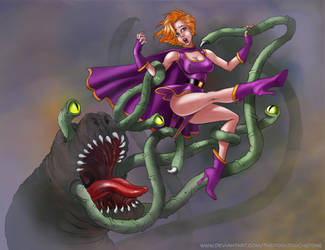 Superheroine and Tentacle Demon Redeux Fini by thefooltouchstone