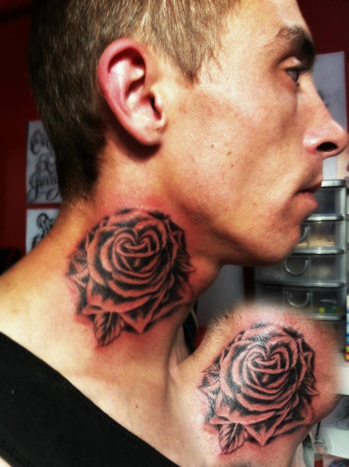 Traditional Rose Neck Tattoo