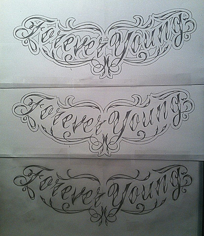 Forever Young, Chest Tattoo Design Sketch By
