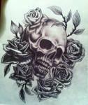 Skull and rose sketch