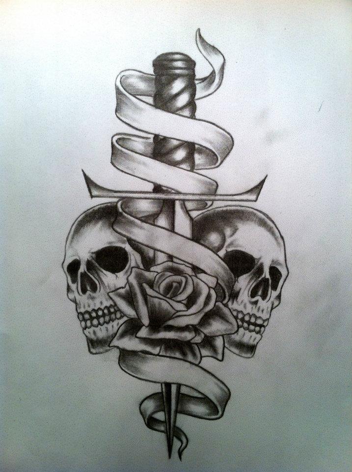 skull rose scroll and dagger by calebslabzzzgraham on deviantart. Black Bedroom Furniture Sets. Home Design Ideas