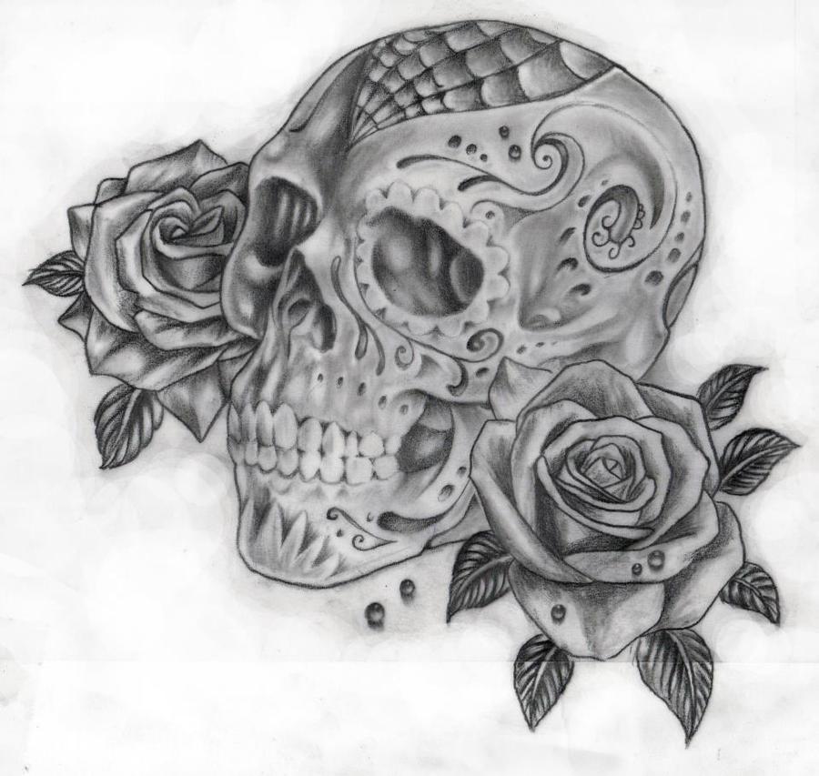 skull and roses by calebslabzzzgraham on deviantart. Black Bedroom Furniture Sets. Home Design Ideas