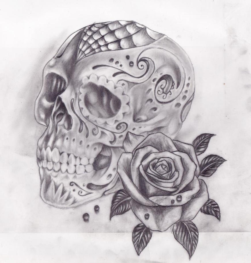 Skull and roses by calebslabzzzgraham on deviantart for Rose and skull tattoos