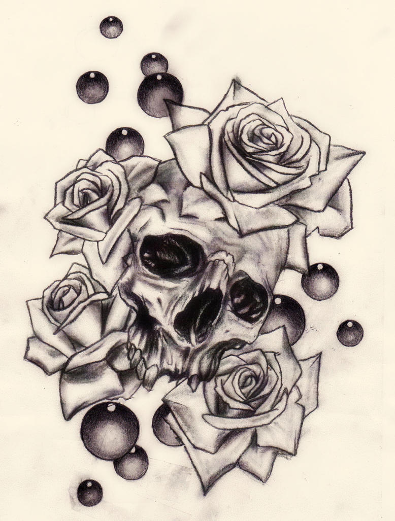 Cool drawings of roses and skulls