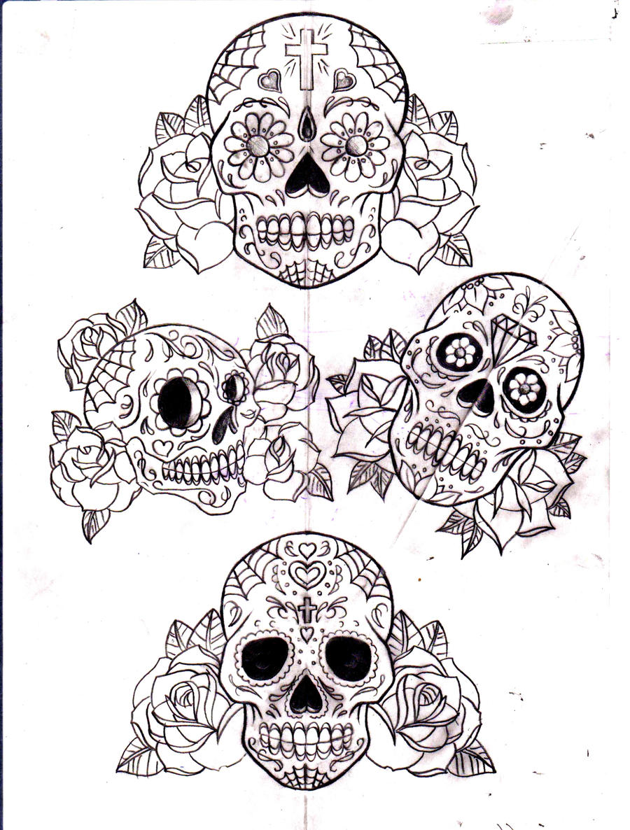 Pics For > Sugar Skull Drawings With Roses Tumblr
