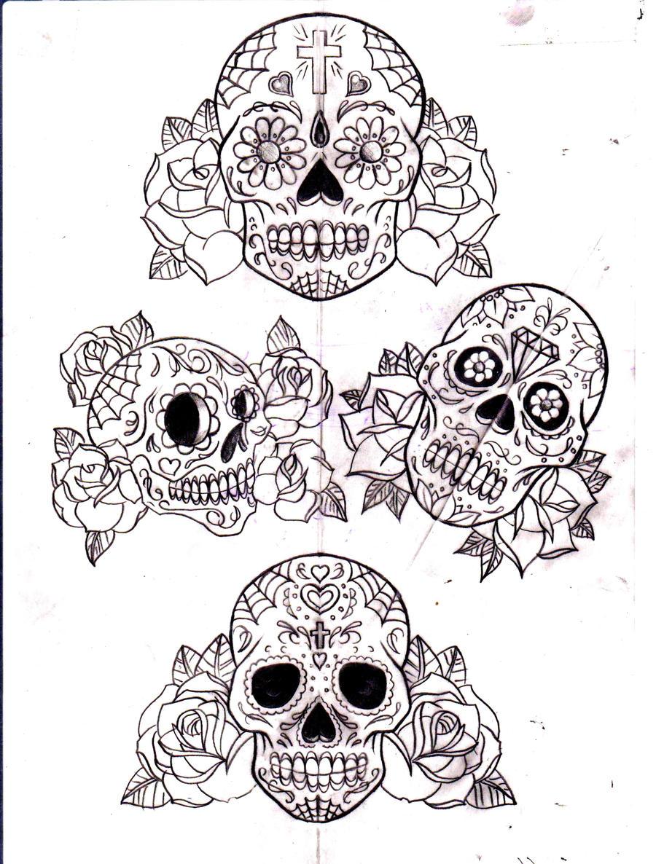 Pics For > Sugar Skull Drawings With Roses Tumblr
