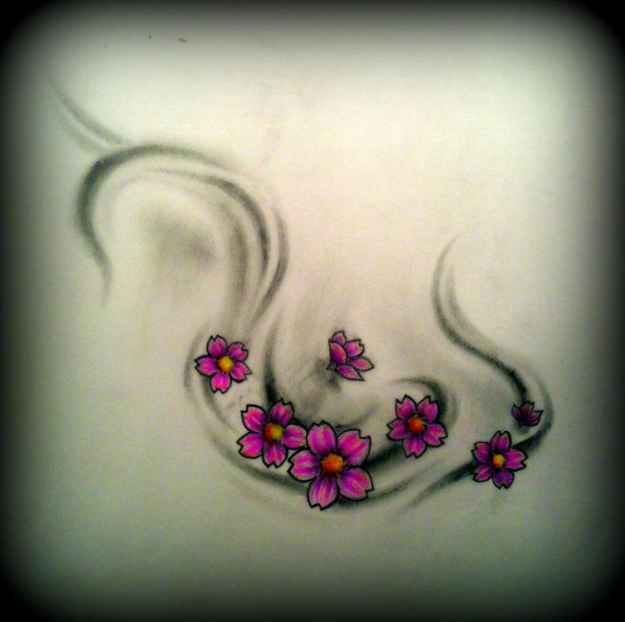 cherry blossom swirls tattoo design by CalebSlabzzzGraham