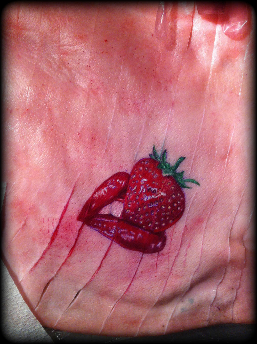 Strawberry and red lipstick tattoo pig skin by for Pig skin tattoo