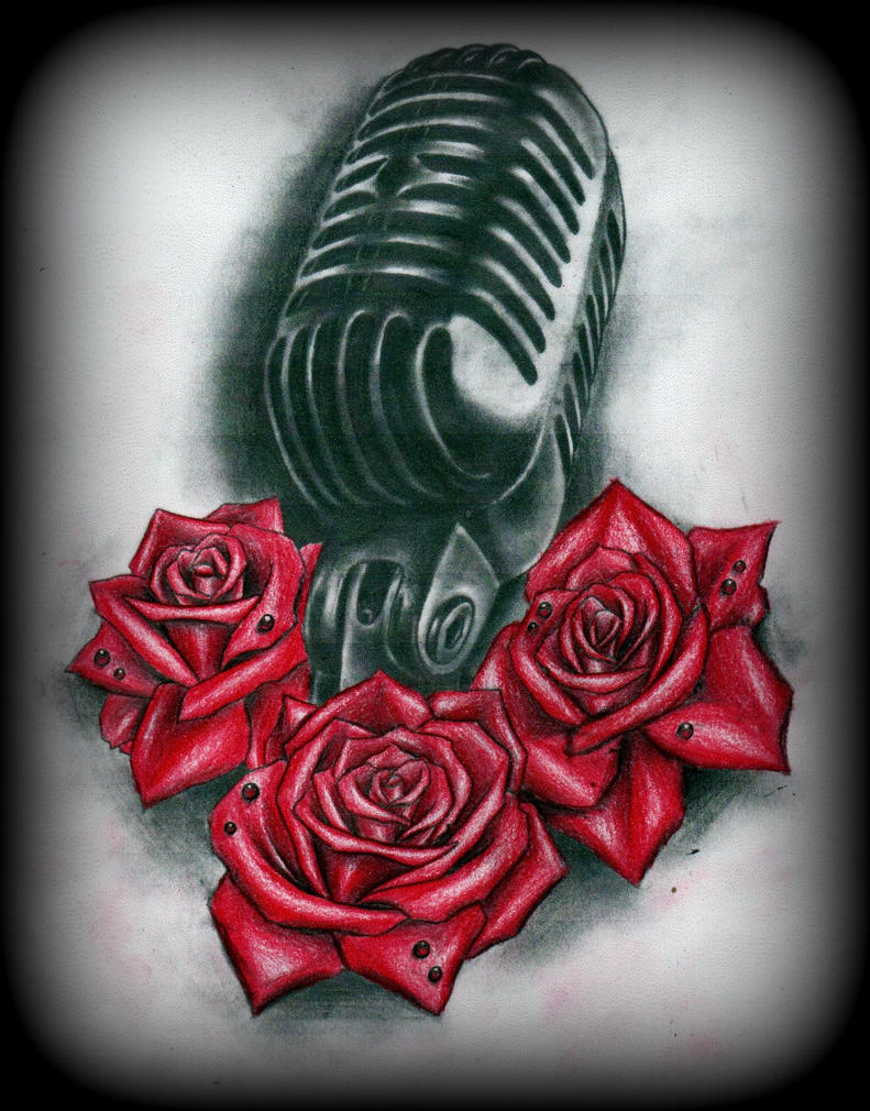old microphone and roses tattoo design by calebslabzzzgraham on deviantart. Black Bedroom Furniture Sets. Home Design Ideas