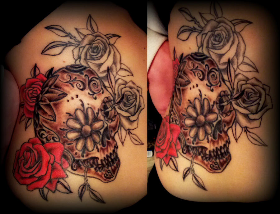 colur sugar skull and roses tattoo partly done by calebslabzzzgraham on deviantart. Black Bedroom Furniture Sets. Home Design Ideas