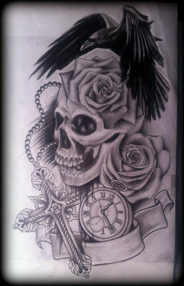 Skull with Roses Tattoo