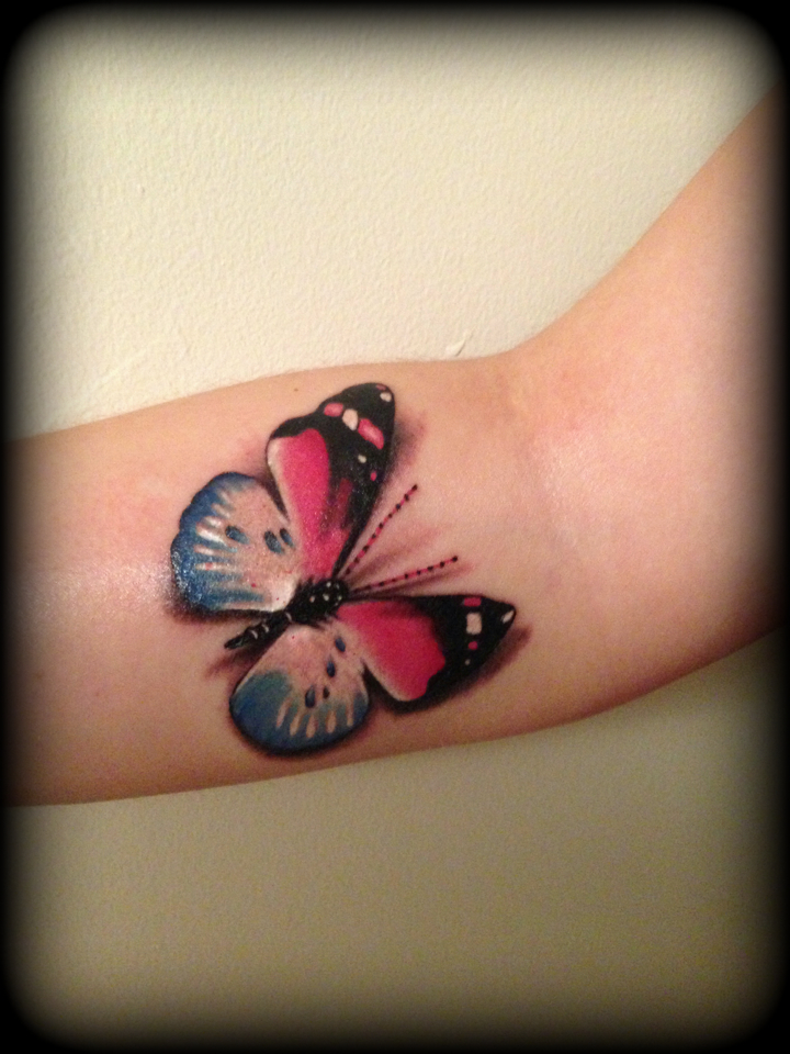 2b316f236cfbc Realistic pink and blue butterfly tattoo 3d by CalebSlabzzzGraham on ...