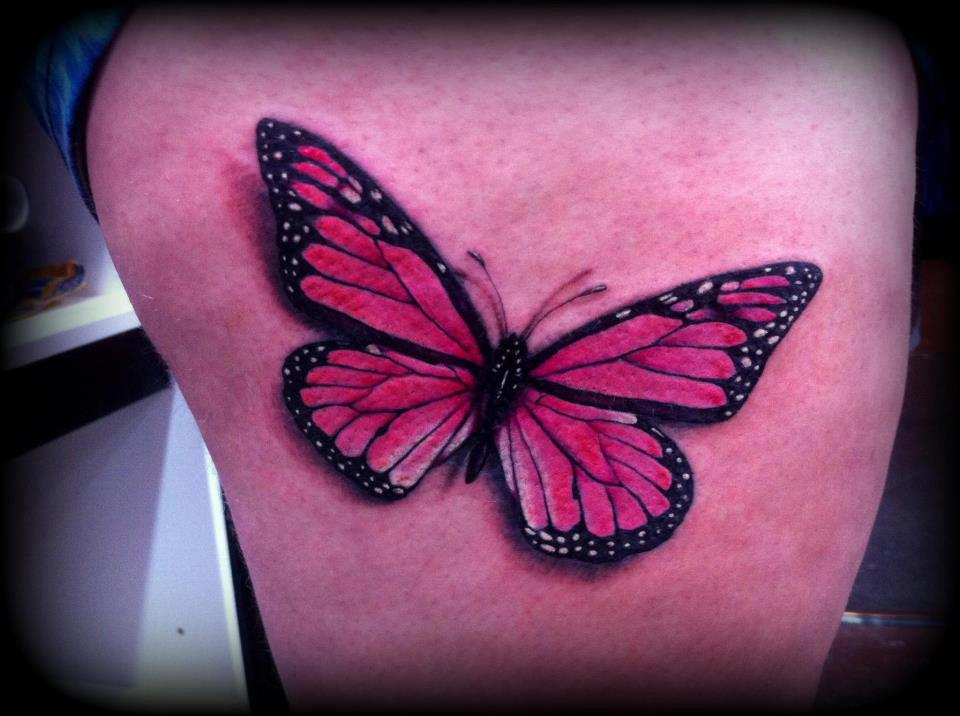 Pink butterfly tattoo