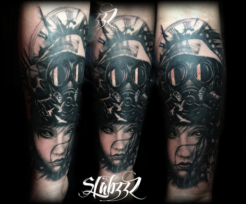 Gothic Holocaust Gas Mask Chick Tattoo By CalebSlabzzzGraham