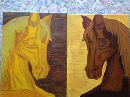 Golden Horse/Brown Horse (Acrylic Painting)