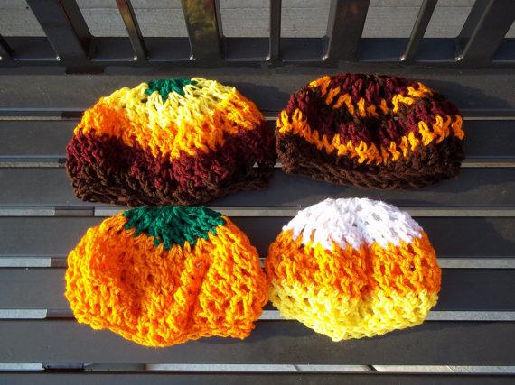 Autumn/Halloween Crochet Slouchy Berets by helendeesartistries