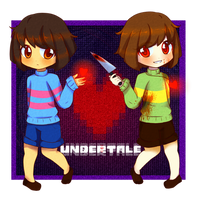 Frisk and Chara [UNDERTALE] by Ashirei