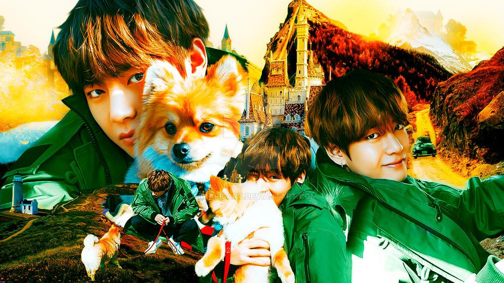 bts wallpaper 003 v kim taehyung and puppy by hikarisart dc8cr5o