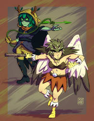 Huntress Wizard and Birdperson by KetsuoTategami