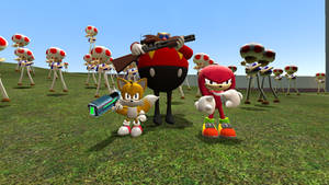 Tails,Knukles and Eggman kill all zombie TOAD