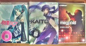 Hatsune Miku, Kaito V3, and Megpoid English