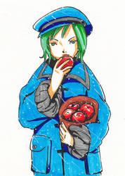 eating apple by lylysv