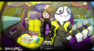 Rebeltaxi pan pizza in a cab