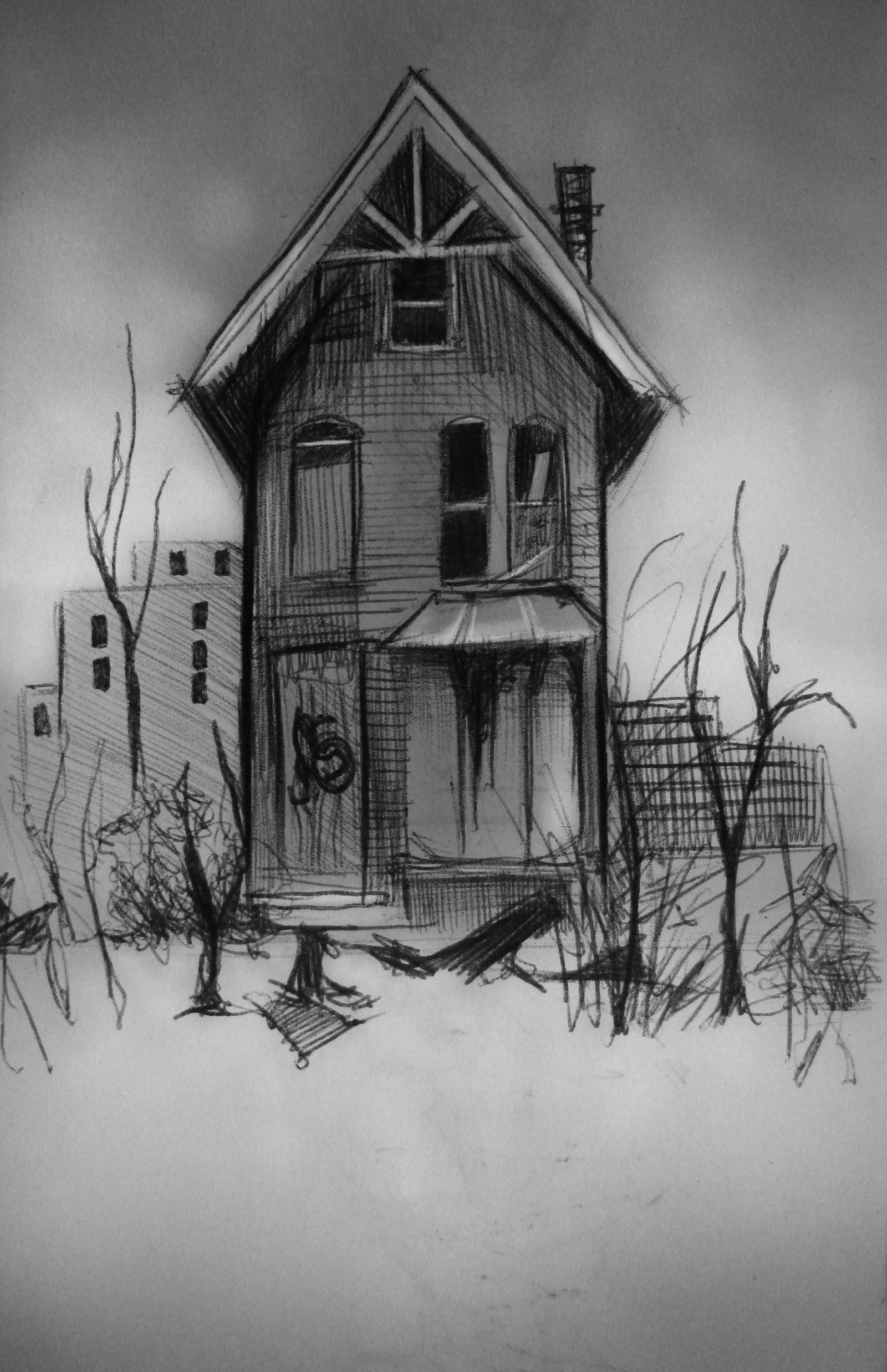 Abandoned house sketch by ocularreverie on deviantart for House drawing picture