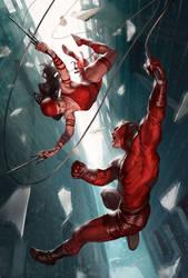 Daredevil and Elektra by charro-art