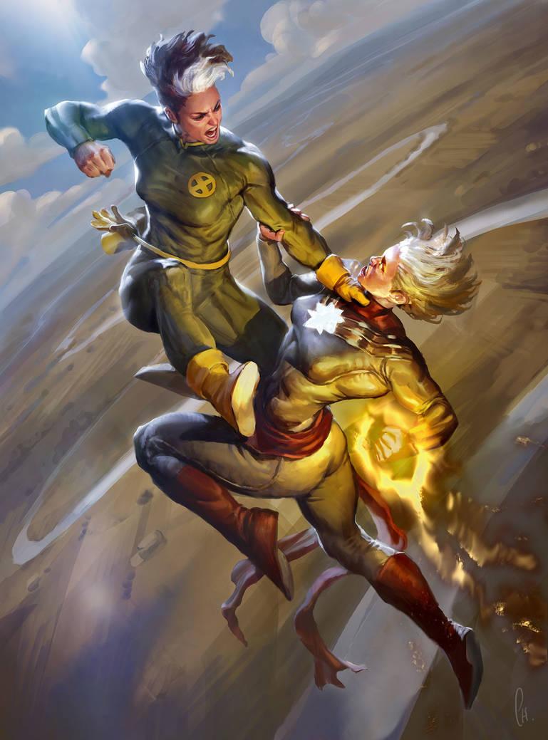 Rogue vs Captain Marvel by charro-art